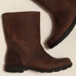 L.L. Bean Brown Leather Pull On Boots sz 6-1/2